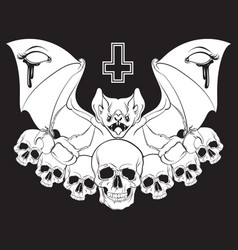 in hand drawn realistic style with skull and bat vector image