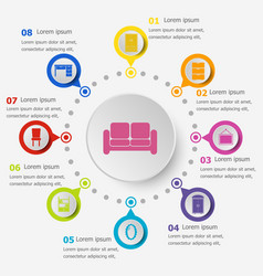 Infographic template with furniture icons vector