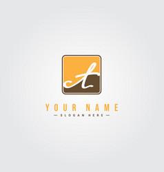 Initial letter ct logo - minimal signature logo vector