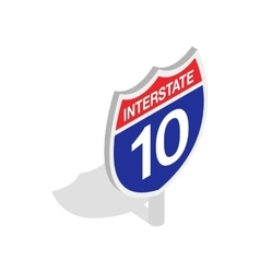 Interstate highway sign icon isometric 3d style vector