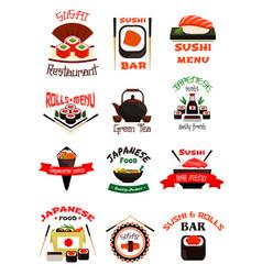 japanese food emblem set with sushi seafood rice vector image