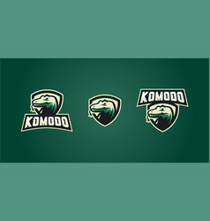 Komodo dragon e sport esport gaming poker logo vector