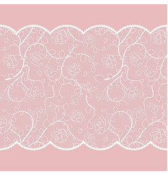 Lace pattern with roses on pink background vector