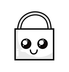 Line kawaii cute happy padlock element vector