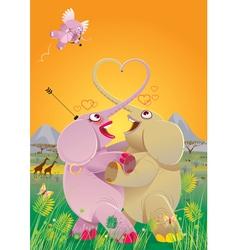 love dance of elephants vector image vector image