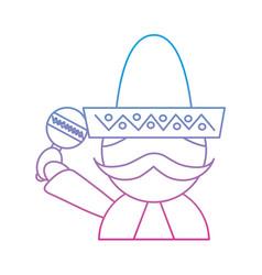 man with sombrero holding maraca mexico culture vector image