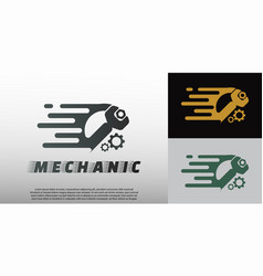 Mechanic logo with wrench concept element vector