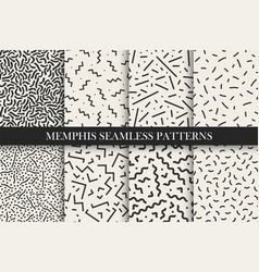 Memphis seamless patterns - swatches vector