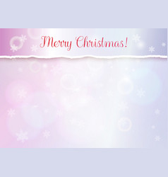 merry christmas banner with turn paper edge vector image
