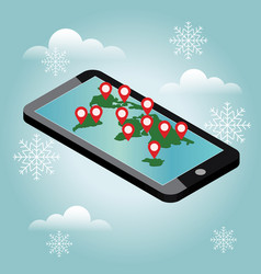 mobile phone geo location snow winter day vector image