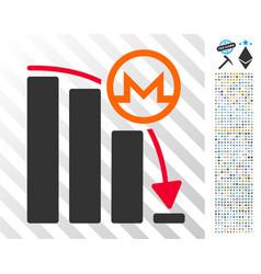 Monero falling acceleration graph flat icon vector