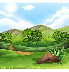 Nature scene with field and hills vector