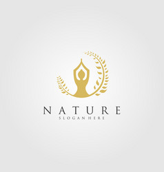 Nature yoga logo emblem vector