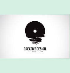 O letter logo design brush paint stroke artistic vector