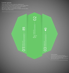 Octagon infographic template vertically divided to vector