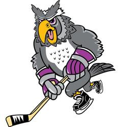 owl sports logo mascot hockey vector image