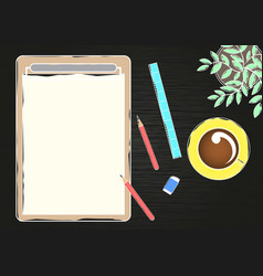 paper clipboard and stationary on blackboard vector image