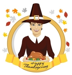 Pilgrim man holding a roasted turkey vector