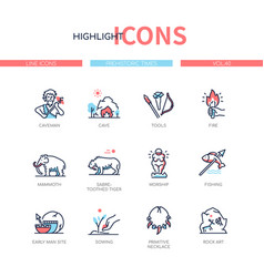 Prehistoric times - line design style icons set vector