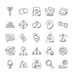 project management doodle set vector image