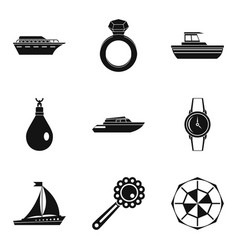 Quantity icons set simple style vector