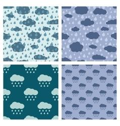 Rainy weather seamless patterns set vector