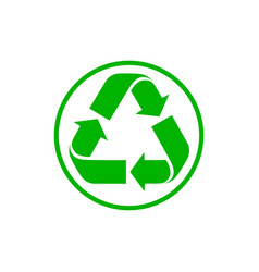 recycling sign triangular looped arrows green vector image