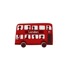 Red cartoon london english double-decker bus vector