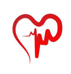 Red heart cardiogram of love vector