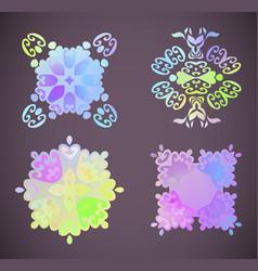 Round rainbow gradient mandalas floral vector