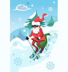 Santa claus riding a snowboard vector