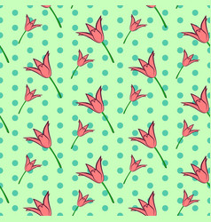 seamless floral pattern with pink tulip flowers vector image