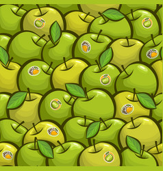 Seamless pattern green apples vector