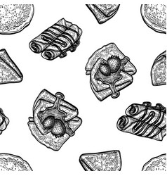 Seamless pattern with crepes or blinis vector
