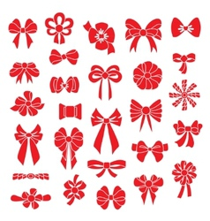 Set bows of different shapes red color vector