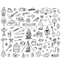 set of forest camping icons vector image