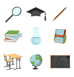 Set of schools supplies from students backpack vector