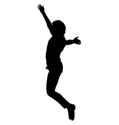 Silhouette young girl jumping with hands up vector