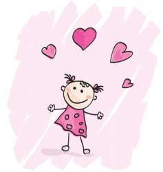 small girl with hearts vector image