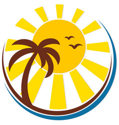 Sun and sea with a palm tree vector