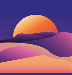 Sunset deset landscape gradient background vector