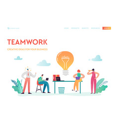Teamwork business solutions landing page vector