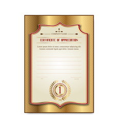 template gold certificates with medal laurel vector image