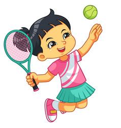Tennis girl jump smash vector