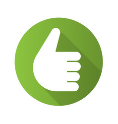 thumbs up gesture flat design long shadow icon vector image