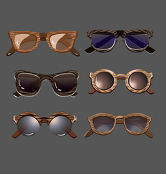 Trendy fashionable hipster sunglasses set vector