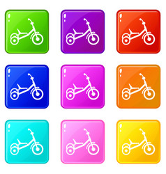 Tricycle icons 9 set vector