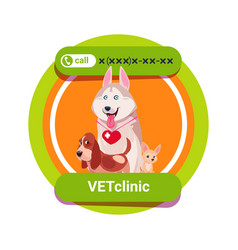 Vet clinic icon with group of happy dogs isolated vector