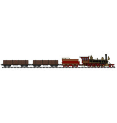Vintage american steam timber train vector