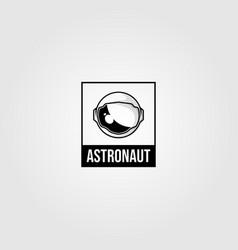 vintage astronaut helmet space travel logo t vector image